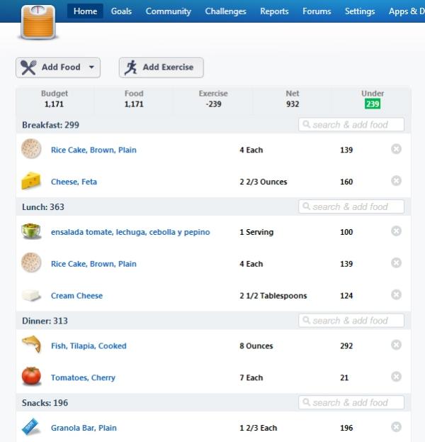 Esta página buenísima la usé cuando quería bajar de peso y ahora la volví a usar para tener una herramienta para analizar mi tipo de alimentación: http://www.loseit.com/